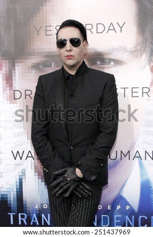 "Marilyn Manson at the Los Angeles premiere of ""Transcendence"" held at the Regency Bruin Theatre in Los Angeles, California, United States on April 10, 2014."