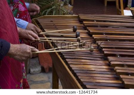 Marimba players playing in Chiapas, Mexico - stock photo
