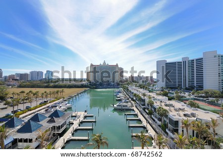 Marina and luxury hotel high rises in Sarasota, Florida. - stock photo