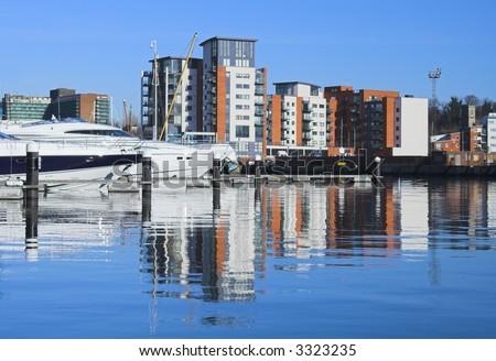 marina apartment reflections - stock photo