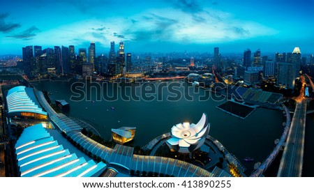 Marina bay at dusk, Singapore - stock photo