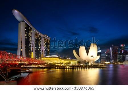 Marina bay at dusk, Singapore city - stock photo