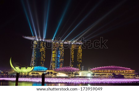 Marina Bay Sands, designed by Moshe Safdie, the integrated resort casino and shopping center in Singapore.  - stock photo