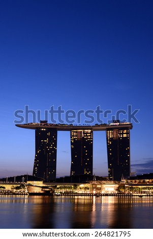 Marina Bay Sands Hotel and reflection on water, Singapore City March 14, 2015