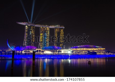 Marina Bay Sands Resort Hotel in Singapore. It is billed as the world's most expensive standalone casino property at S$8 billion.