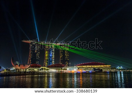 MARINA BAY SANDS, SINGAPORE NOVEMBER 05, 2015: Beautiful laser show at the Marina Bay waterfront, Singapore on November 05, 2015