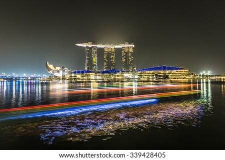 MARINA BAY SANDS, SINGAPORE NOVEMBER 05, 2015: Marina Bay waterfront and skyline, Singapore on November 05, 2015 - stock photo