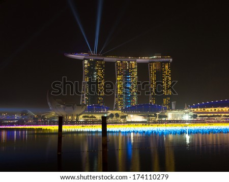 MARINA BAY, SINGAPORE - DEC 31, 2013: Marina Bay Sands Resort Hotel in Singapore. It is billed as the world's most expensive standalone casino property at $8 billion.  - stock photo