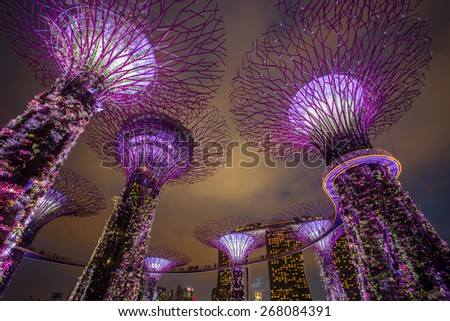 MARINA BAY ,SINGAPORE, MARCH 16, 2015: Big Tree light show night time for people watch the show in Garden By The Bay,Singapore - stock photo