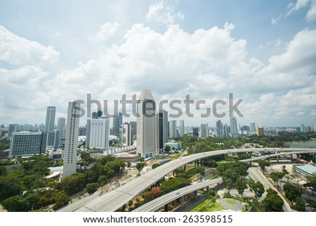MARINA BAY, SINGAPORE - MARCH 01, 2015: What travelers do not miss when visit to Singapore is watching the city from the top view at the central business area of Singapore.