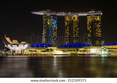 Marina Bay view at night in Singapore, February 8, 2015