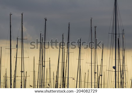 marina boats masts - stock photo