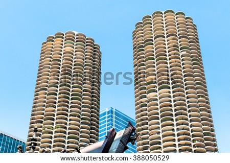 Marina City Towers in Downtown Chicago, USA - stock photo