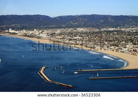 marina del rey harbor entrance in California - stock photo