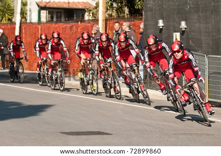 MARINA DI CARRARA, CARRARA , ITALY - MARCH 09:  BMC Racing Team during the 1st Time Trial stage of 2011 Tirreno-Adriatico on March 09, 2011 in Marina di Carrara, Carrara, Italy - stock photo