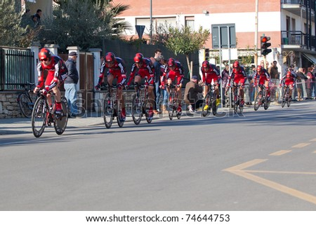 MARINA DI CARRARA, CARRARA, ITALY - MARCH 09: Team BMC Racing during the 1st Time Trial stage of 2011 Tirreno-Adriatico on March 09, 2011 in Marina di Carrara, Carrara, Italy - stock photo