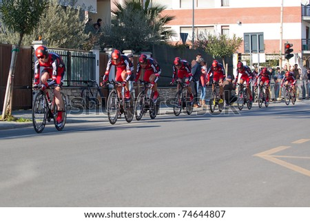 MARINA DI CARRARA, CARRARA, ITALY - MARCH 09: Team BMC Racing during the 1st Time Trial stage of 2011 Tirreno-Adriatico on March 09, 2011 in Marina di Carrara, Carrara, Italy