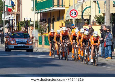 MARINA DI CARRARA, CARRARA, ITALY - MARCH 09: Team Euskaltel Euskadi during the 1st Time Trial stage of 2011 Tirreno-Adriatico on March 09, 2011 in Marina di Carrara, Carrara, Italy - stock photo