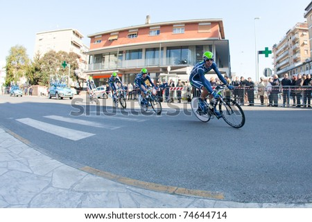 MARINA DI CARRARA, CARRARA, ITALY - MARCH 09: Team Movistar during the 1st Time Trial stage of 2011 Tirreno-Adriatico on March 09, 2011 in Marina di Carrara, Carrara, Italy - stock photo