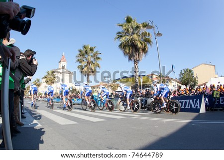 MARINA DI CARRARA, CARRARA, ITALY - MARCH 09: Team Quickstep during the 1st Time Trial stage of 2011 Tirreno-Adriatico on March 09, 2011 in Marina di Carrara, Carrara, Italy - stock photo
