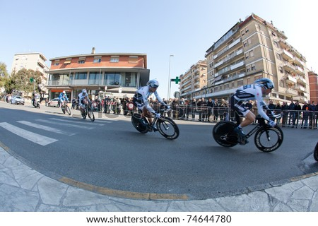 MARINA DI CARRARA, CARRARA, ITALY - MARCH 09: Team Saxo Bank Sungard during the 1st Time Trial stage of 2011 Tirreno-Adriatico on March 09, 2011 in Marina di Carrara, Carrara, Italy - stock photo