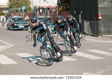 MARINA DI CARRARA, CARRARA , ITALY - MARCH 09: Team Sky Procycling  during the Warm-up before the 1st Time Trial stage of 2011 Tirreno-Adriatico on March 09, 2011 in Marina di Carrara, Carrara, Italy - stock photo