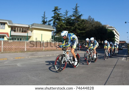 MARINA DI CARRARA, CARRARA, ITALY - MARCH 09: Team Vacansoleil during the 1st Time Trial stage of 2011 Tirreno-Adriatico on March 09, 2011 in Marina di Carrara, Carrara, Italy - stock photo
