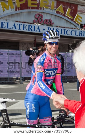 MARINA DI CARRARA, CARRARA - MARCH 09: Damiano Cunego during the 1st Time Trial stage of 2011 Tirreno-Adriatico on March 09, 2011 in Marina di Carrara, Carrara, Italy - stock photo
