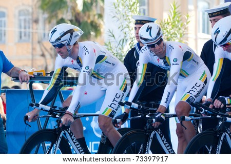 MARINA DI CARRARA, CARRARA - MARCH 09: Team HTC - Highroad during the 1st Time Trial stage of 2011 Tirreno-Adriatico on March 09, 2011 in Marina di Carrara, Carrara, Italy - stock photo