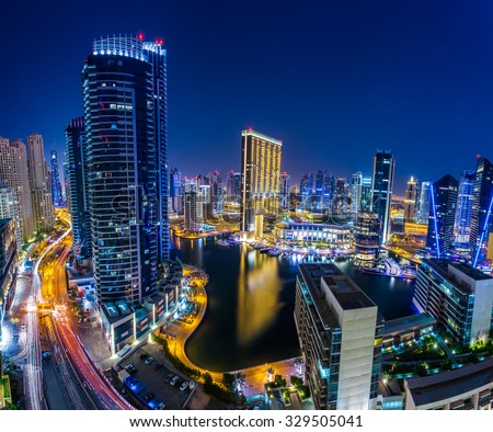 Marina Dubai Extreme Panorama - stock photo