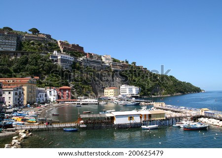 Marina Grande, Sorrento. Quaint and peaceful port in Sorrento, southern Italy. - stock photo