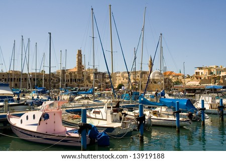 Marina in ancient port  fort Akko . Israel - stock photo