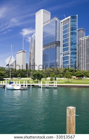 Marina in Chicago - summer time. - stock photo