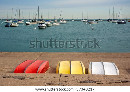 Marina in Chicago. View from the promenade. - stock photo
