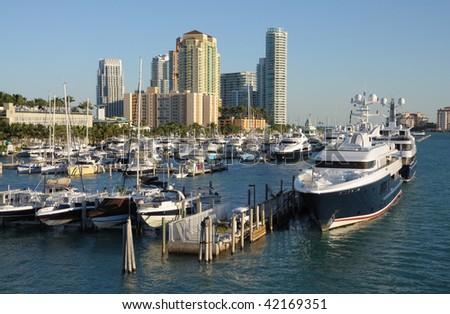 Marina in Miami Beach, Florida USA - stock photo