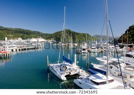 Marina in Picton, New Zealand - stock photo