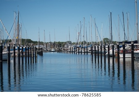 marina in Schilksee, Kiel, with some details of boats - stock photo