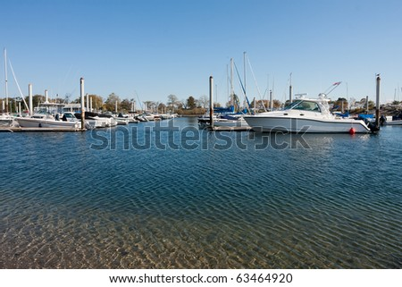 Marina in Westport, Connecticut on a beautiful autumn day. - stock photo
