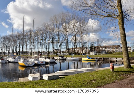 Marina of Ouistreham in the Calvados department in the Basse Normandie region in northwestern France.