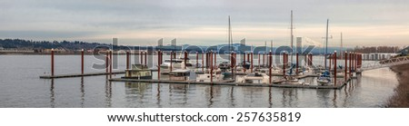 Marina on Columbia River with Mount Hood View and Waterfront Condominiums Panorama - stock photo