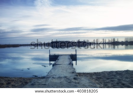 marina on the lake - stock photo