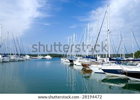 Marina on the seacoast of Istria, Croatia - stock photo