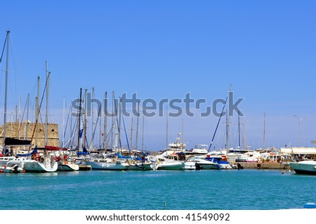 Marina: Port of Heraklion, Crete, Greece. - stock photo