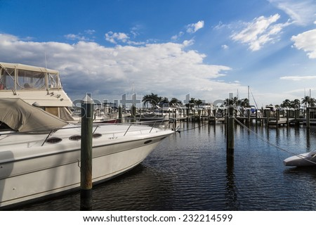 Marina resort in Florida, wooden path, Cape Coral - stock photo