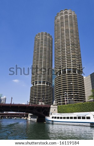 Marina Towers Buildings in Chicago - stock photo