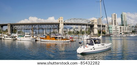 Marina under the Burrard Street Bridge Vancouver BC Canada Panorama - stock photo