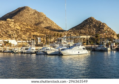 Marina with luxury yachts in Cabo San Lucas, Mexico