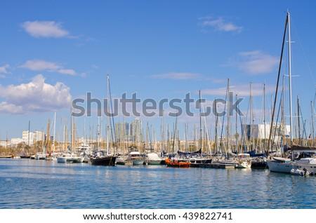 Marina with yachts in Barcelona - Spain - stock photo