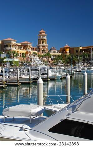 Marina, Yachts and Shopping Mall in Mexico - stock photo