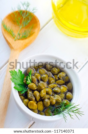marinated capers - stock photo